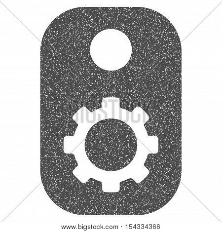 Gear Tag grainy textured icon for overlay watermark stamps. Flat symbol with scratched texture. Dotted vector gray ink rubber seal stamp with grunge design on a white background.