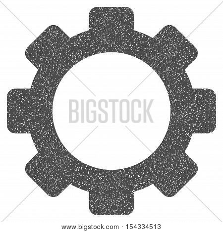 Gear grainy textured icon for overlay watermark stamps. Flat symbol with scratched texture. Dotted vector gray ink rubber seal stamp with grunge design on a white background.