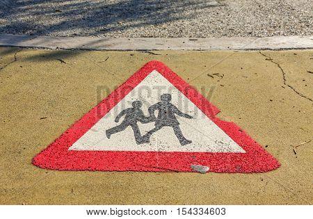 Pedestrian Road Sign, Painted On Asphalt