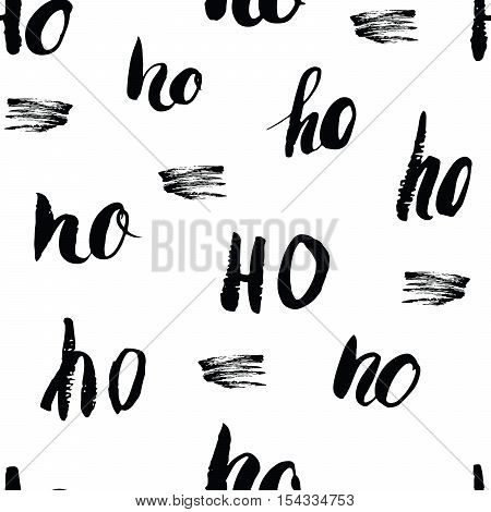 New Year And Christmas Seamless Pattern, With Ho Ho Ho Hand Drawn Letters, Retro, Vintage Seamless P