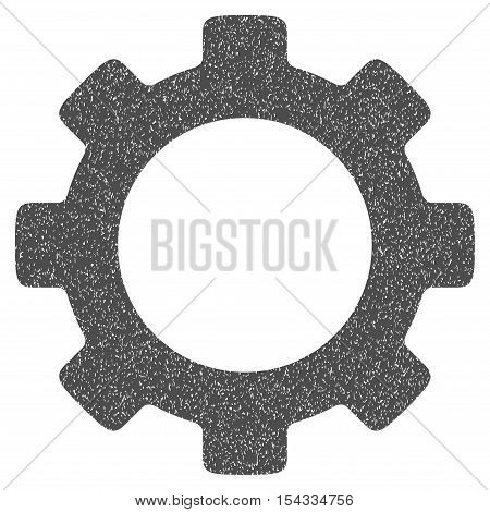 Gear grainy textured icon for overlay watermark stamps. Flat symbol with unclean texture. Dotted vector gray ink rubber seal stamp with grunge design on a white background.