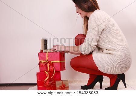 Woman With Many Christmas Gift Boxes
