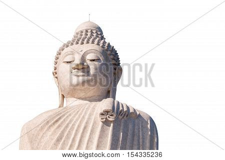 Close up of the Big Buddha head, isolated on white background. Chalong, Phuket, Thailand. Visible almost everywhere, the Big Buddha has become one of the most popular attractions in Phuket
