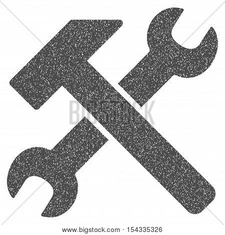 Hammer and Wrench grainy textured icon for overlay watermark stamps. Flat symbol with dirty texture. Dotted vector gray ink rubber seal stamp with grunge design on a white background.