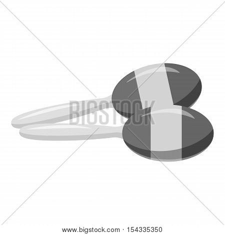 Maracas icon. Gray monochrome illustration of maracas vector icon for web