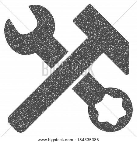 Hammer and Wrench grainy textured icon for overlay watermark stamps. Flat symbol with unclean texture. Dotted vector gray ink rubber seal stamp with grunge design on a white background.
