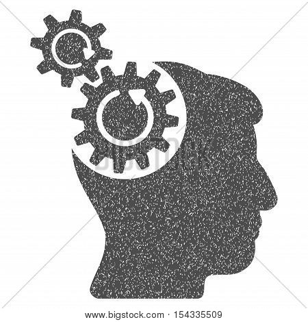 Head Cogs Rotation grainy textured icon for overlay watermark stamps. Flat symbol with dust texture. Dotted vector gray ink rubber seal stamp with grunge design on a white background.