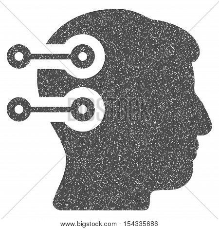 Head Connectors grainy textured icon for overlay watermark stamps. Flat symbol with unclean texture. Dotted vector gray ink rubber seal stamp with grunge design on a white background.