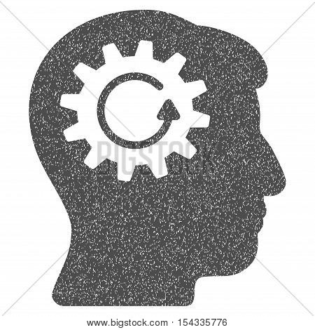 Head Gear Rotation grainy textured icon for overlay watermark stamps. Flat symbol with dust texture. Dotted vector gray ink rubber seal stamp with grunge design on a white background.