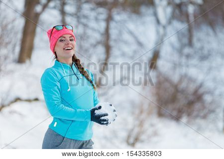 Girl Having Fun With Snow