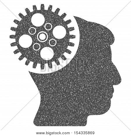 Head Gearwheel grainy textured icon for overlay watermark stamps. Flat symbol with dust texture. Dotted vector gray ink rubber seal stamp with grunge design on a white background.