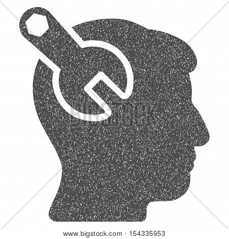 Head Neurology Wrench grainy textured icon for overlay watermark stamps. Flat symbol with scratched texture. Dotted vector gray ink rubber seal stamp with grunge design on a white background.