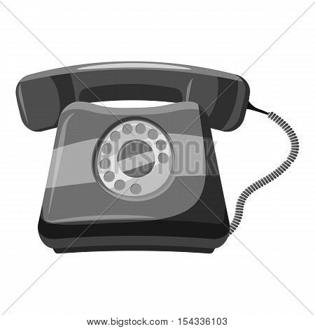 Retro phone icon. Gray monochrome illustration of retro phone vector icon for web