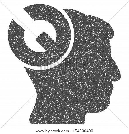 Head Surgery Wrench grainy textured icon for overlay watermark stamps. Flat symbol with scratched texture. Dotted vector gray ink rubber seal stamp with grunge design on a white background.