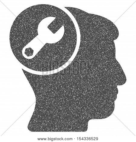 Head Wrench Repair grainy textured icon for overlay watermark stamps. Flat symbol with unclean texture. Dotted vector gray ink rubber seal stamp with grunge design on a white background.