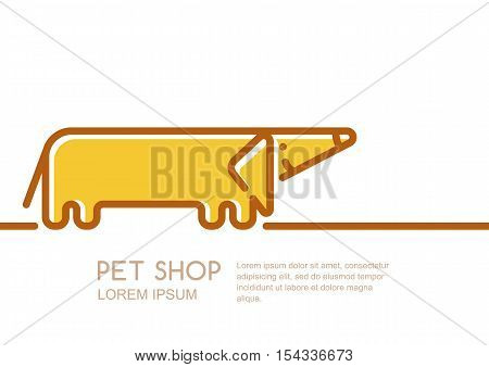 Vector Logo, Label Or Emblem Design Template With Linear Style Friendly Dachshund Dog.