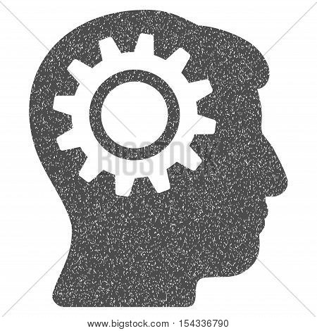 Intellect Gear grainy textured icon for overlay watermark stamps. Flat symbol with scratched texture. Dotted vector gray ink rubber seal stamp with grunge design on a white background.