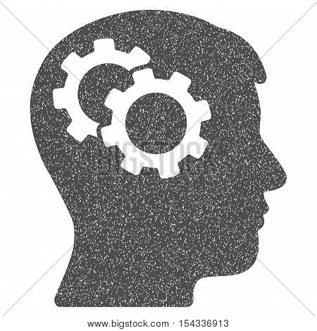 Intellect Gears grainy textured icon for overlay watermark stamps. Flat symbol with scratched texture. Dotted vector gray ink rubber seal stamp with grunge design on a white background.