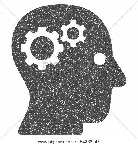 Intellect Gears grainy textured icon for overlay watermark stamps. Flat symbol with dirty texture. Dotted vector gray ink rubber seal stamp with grunge design on a white background.
