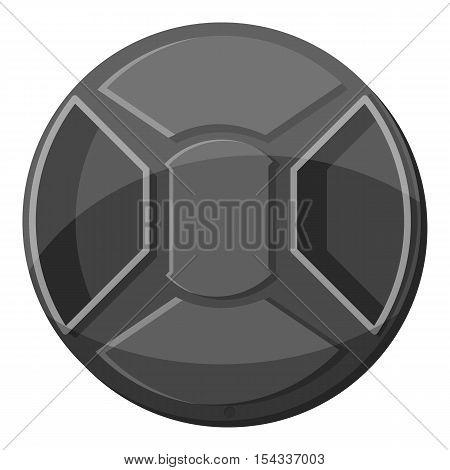 Cover on lens camera icon. Gray monochrome illustration of cover on lens camera vector icon for web