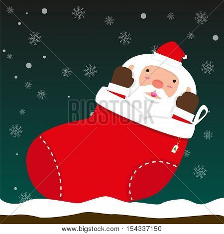 cute fat big Santa Claus come out of Christmas sock on falling snow flake green background