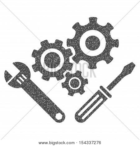Mechanics Tools grainy textured icon for overlay watermark stamps. Flat symbol with dirty texture. Dotted vector gray ink rubber seal stamp with grunge design on a white background.