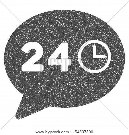 Message Hours grainy textured icon for overlay watermark stamps. Flat symbol with dirty texture. Dotted vector gray ink rubber seal stamp with grunge design on a white background.