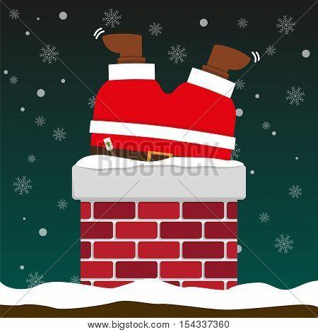 cute fat big Santa Claus stuck in chimney on falling snow flake green background