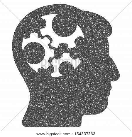 Mind Gears grainy textured icon for overlay watermark stamps. Flat symbol with dirty texture. Dotted vector gray ink rubber seal stamp with grunge design on a white background.