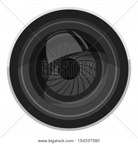 Lens for camera icon. Gray monochrome illustration of lens for camera vector icon for web