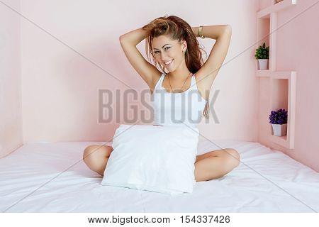 Beautiful  Woman At Bed