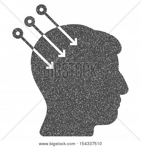 Neural Interface Connectors grainy textured icon for overlay watermark stamps. Flat symbol with dust texture. Dotted vector gray ink rubber seal stamp with grunge design on a white background.