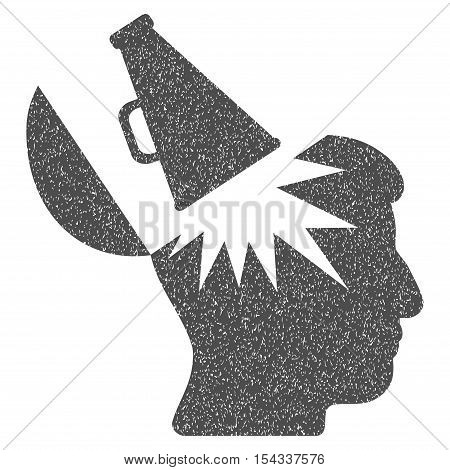 Open Brain Megaphone grainy textured icon for overlay watermark stamps. Flat symbol with dust texture. Dotted vector gray ink rubber seal stamp with grunge design on a white background.