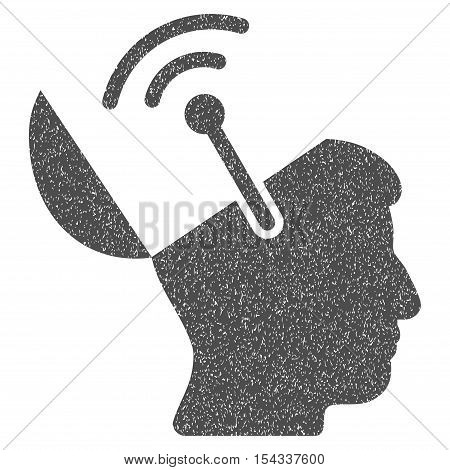 Open Brain Radio Interface grainy textured icon for overlay watermark stamps. Flat symbol with unclean texture. Dotted vector gray ink rubber seal stamp with grunge design on a white background.