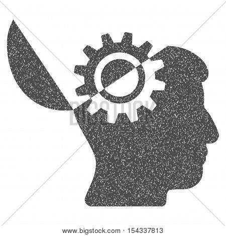 Open Mind Gear grainy textured icon for overlay watermark stamps. Flat symbol with scratched texture. Dotted vector gray ink rubber seal stamp with grunge design on a white background.