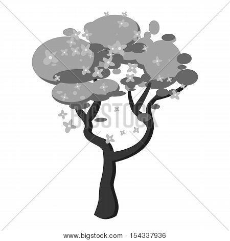 Sakura icon. Gray monochrome illustration of sakura vector icon for web