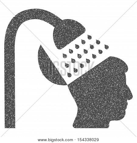 Open Mind Shower grainy textured icon for overlay watermark stamps. Flat symbol with dirty texture. Dotted vector gray ink rubber seal stamp with grunge design on a white background.