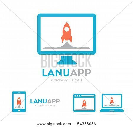 Vector spaceship and phone logo combination. Rocket and mobile symbol or icon. Unique target and science logotype design template.