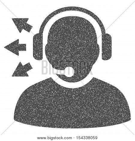 Operator Answer Speech grainy textured icon for overlay watermark stamps. Flat symbol with scratched texture. Dotted vector gray ink rubber seal stamp with grunge design on a white background.