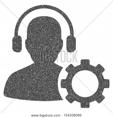 Operator Configuration Gear grainy textured icon for overlay watermark stamps. Flat symbol with unclean texture. Dotted vector gray ink rubber seal stamp with grunge design on a white background.