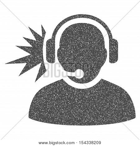 Operator Headphones Signal grainy textured icon for overlay watermark stamps. Flat symbol with dirty texture. Dotted vector gray ink rubber seal stamp with grunge design on a white background.