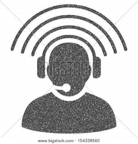 Operator Radio Signal grainy textured icon for overlay watermark stamps. Flat symbol with dirty texture. Dotted vector gray ink rubber seal stamp with grunge design on a white background.
