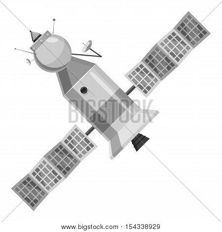 Satellite icon. Gray monochrome illustration of satellite vector icon for web