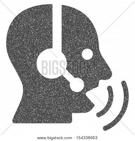 Operator Speech Sound Waves grainy textured icon for overlay watermark stamps. Flat symbol with dirty texture. Dotted vector gray ink rubber seal stamp with grunge design on a white background.