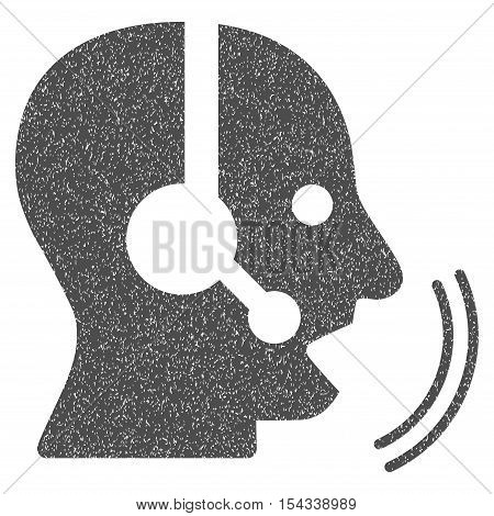 Operator Speech grainy textured icon for overlay watermark stamps. Flat symbol with unclean texture. Dotted vector gray ink rubber seal stamp with grunge design on a white background.