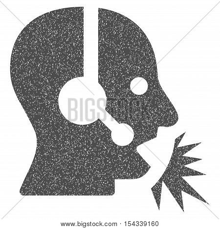 Operator Speech grainy textured icon for overlay watermark stamps. Flat symbol with dust texture. Dotted vector gray ink rubber seal stamp with grunge design on a white background.