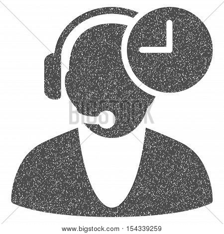Operator Time grainy textured icon for overlay watermark stamps. Flat symbol with dust texture. Dotted vector gray ink rubber seal stamp with grunge design on a white background.
