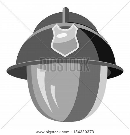 Firefighter helmet with mask icon. Gray monochrome illustration of firefighter helmet with mask vector icon for web