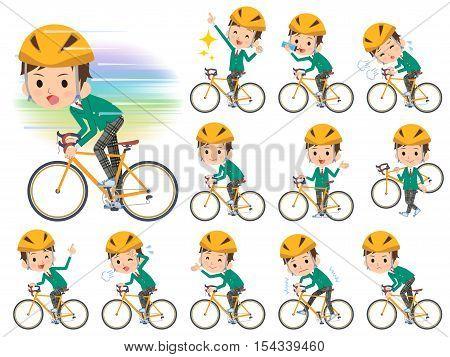 School Boy Green Blazer On Rode Bicycle