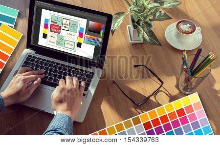 Creative Designer Graphic Designer At Work. Color Swatch Samples, Illustrator Graphic Designer Worki